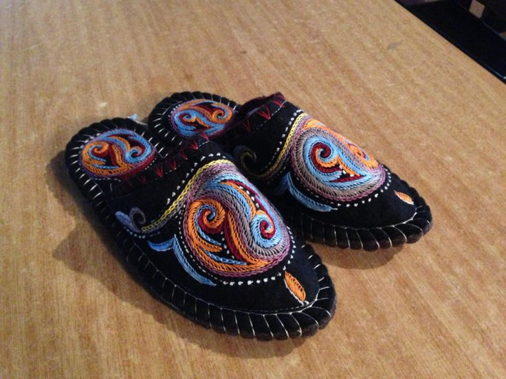 Hand Embroidered black  felt slippers by Kyrgyzstan on Etsy, $33.81