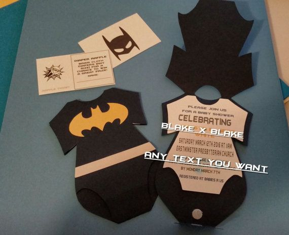 Batman Onesie Invitation    Order there completely customizable superhero invitations for your next event!    OPTIONAL Diaper Raffle cards availiable for no additional charge.    These cute cards can be cusomized with superhero theme, color, and word choice. ALL cards fit into standard 5 x 7 envelope (Included).      The more you buy the more you save!          Please send a message before ordering multiple cards to finalize prices.    Custom Batman Onesie Invitations       Please send a…