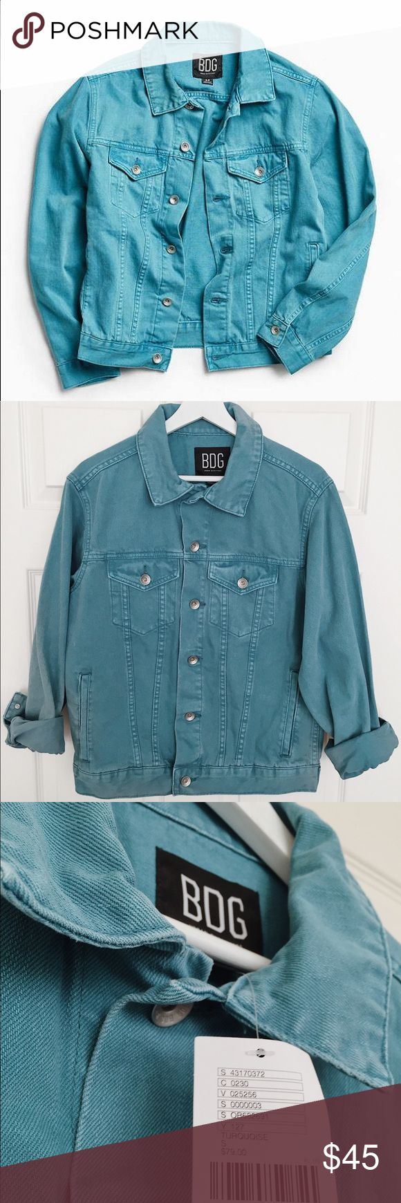 UrbanOutfitters BDG green/turquoise denim jacket Brand new with tag! Urban Outfitters BDG green/turquoise Core Denim Trucker Jacket Size: men's small —> fits like women's medium Perfect oversize look! Thick denim fabric  - bundle to save  #denimjacket #green #turquoise #urbanoutfitters #UO #BDG #menswear #oversize Urban Outfitters Jackets & Coats Jean Jackets