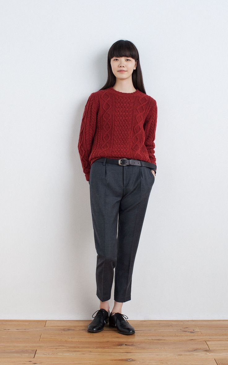 MUJI | WOOL MIDDLE GAUGE ARAN PATTERN CREW NECK SWEATER | OGC STRETCH CREW NECK L/S T SHIRT (PLAIN) | WASHABLE WOOL STRETCH EASY ANKLE TROUSERS | TANNED LEATHER HAND DYEING BELT