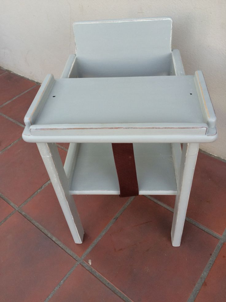 Baby feeding chair distressed in grey - then turns into chair once child is older!'
