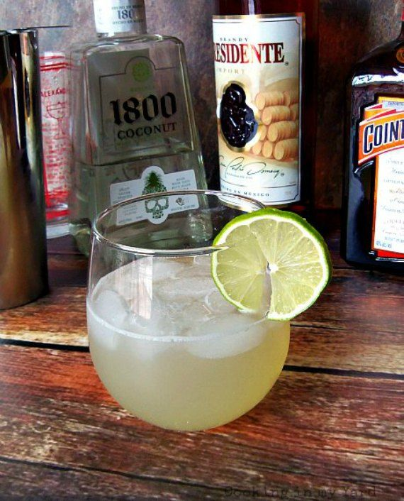 An 1800 Coconut Tequila Margarita made with Cointreau and Presidente Brandy.