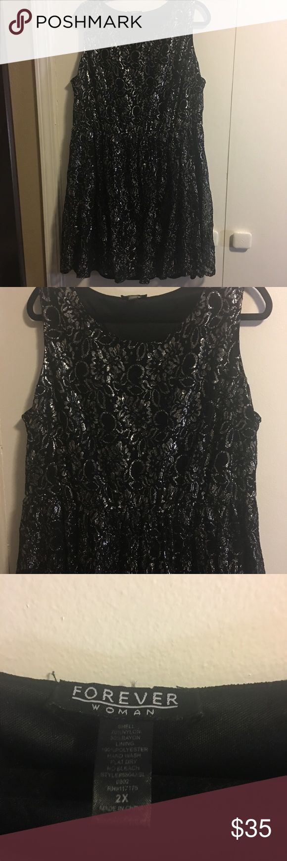 Forever Woman Plus Size Dress Beautiful plus size shimmer dress, black with silver. The brand is Forever Woman, and is size 2X. EUC. Forever Woman Dresses
