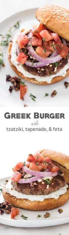Greek Inspired Burger with Tzatziki, Tapenade, and Feta