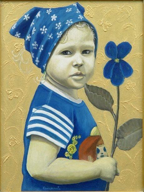 """,,Portret pasierbicy z kwiatem"""" olej-akryl na płótnie 2007-2008r. 40x30cm. Obraz nagrodzony w konkursie..."""