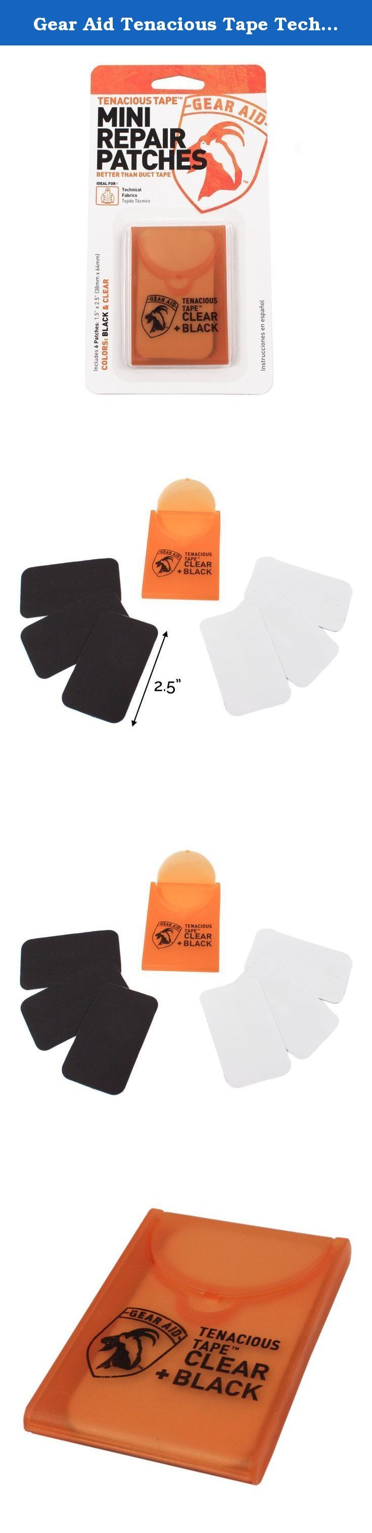 Gear Aid Tenacious Tape Technical Fabric Mini Repair Patches Black and Clear. The Gear Aid Tenacious Tape mini repair patches are a super aggressive adhesive for long-lasting repairs of all technical fabrics. They are sized to fit most down baffles and with their compact case they are easy to take on any trip, or keep in any emergency kit! The patches are great for tents, tarps, rubber boots, sleeping bags, down jackets, boat covers, inflatables, awnings, and much more! Package Includes:...
