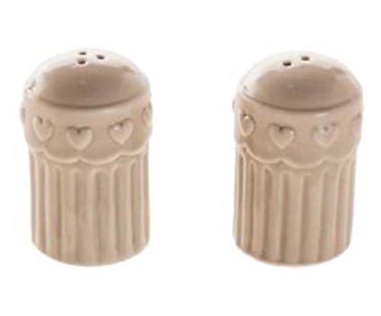 Set di saliera e pepiera in ceramica Cuori