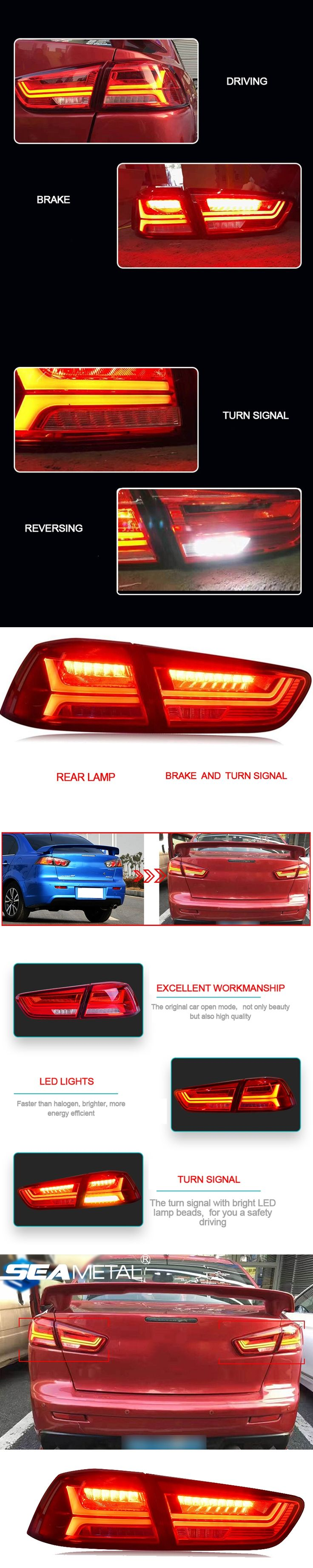 Car Taillight For Mitsubishi Lancer 2009 2010 2011 2012 2013 2014 2015 2016 LED Car Rear lamp Kit Tail lights Assembly Auto Lamp
