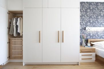 Modern wardrobes interior - would work well with plain wood chest of drawers