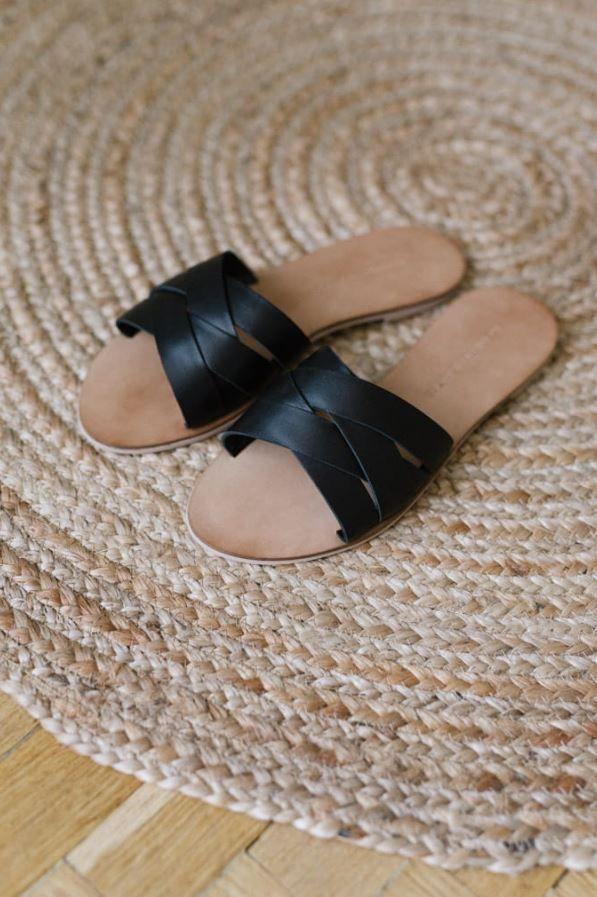 Czarne Klapki Tulum Slip On Sandal Shoes Sandals