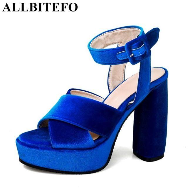 ALLBITEFO толстый каблук стая платформа женщины сандалии моды сексуальные высокие каблуки партии обувь женская обувь летние сандалии размер: 33-43