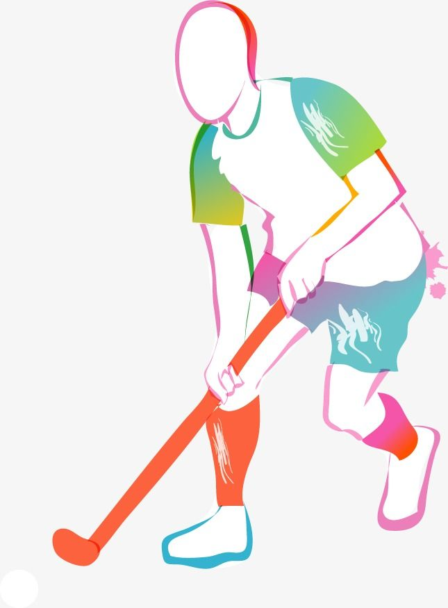 Cartoon Hand Colored Sport Silhouette Figures Cartoon Hand Painted Color Png And Vector Frases Sobre Deporte Hockey Hockey Sobre Cesped