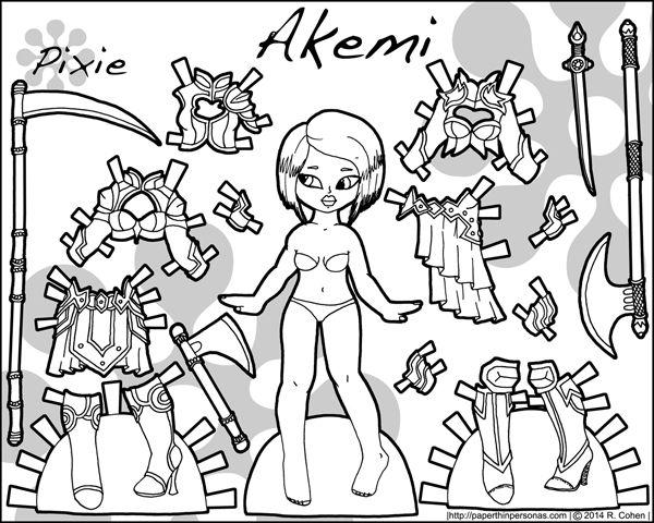 Printable kvinnliga krigare pappersdocka med rustningar och vapen i svart och vitt för färgning