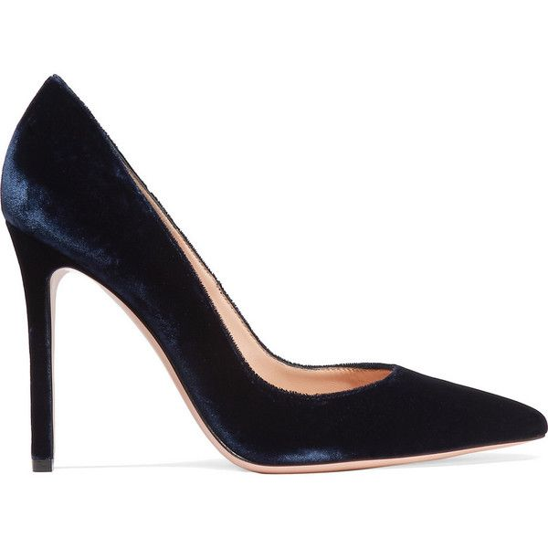 Gianvito Rossi Velvet pumps ($600) ❤ liked on Polyvore featuring shoes, pumps, gianvito rossi, heels, blue, blue velvet shoes, gianvito rossi pumps, pointed toe pumps, high heel court shoes and pointy toe pumps