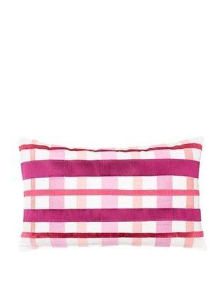 Trina Turk Chevron Dots Plaid Pillow, White/Fuchsia, 12
