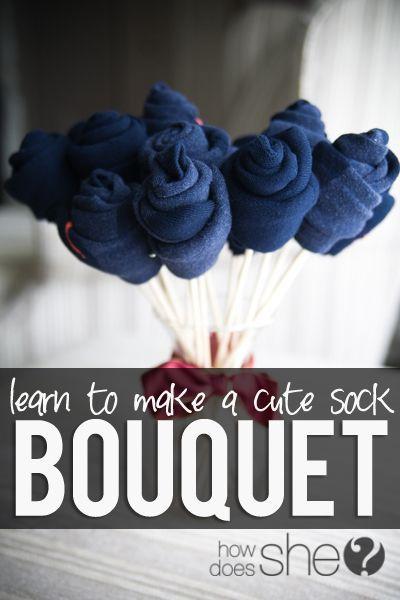 Make a sock bouquet! A sweet twist on giving socks as a gift! LOVE it! #socks #giftidea #bouquet from howdoesshe.com