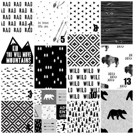 Black Baby Bedding Crib Set -  Black and White - Teepee - Native Tribal Arrows - Woodland Baby Boy Nursery Set - Crib Bedding - Monochrome