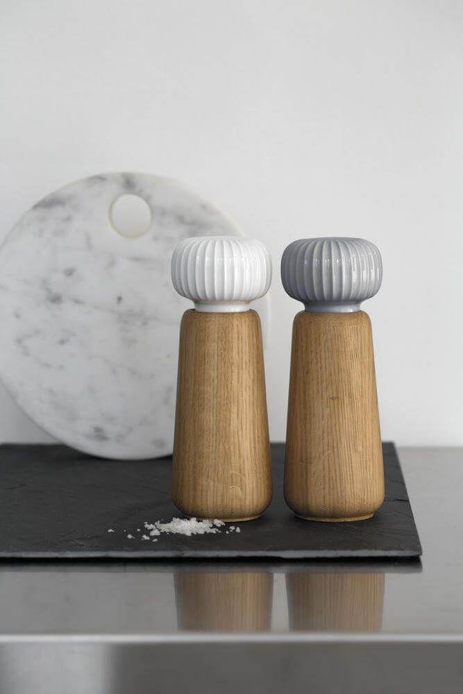 Zoutmolen en pepermolens in eikenhout en keramiek van Kahler