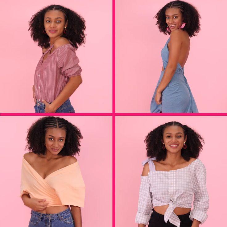 Descubre cómo darle un segundo uso a toda la ropa / Diy Clothes Refashion, Shirt Refashion, Diy Shirt, Thrift Store Refashion, Diy Summer Clothes, Men's Shirts And Tops, Diy Fashion Hacks, Diy Clothes Videos, Clothing Hacks
