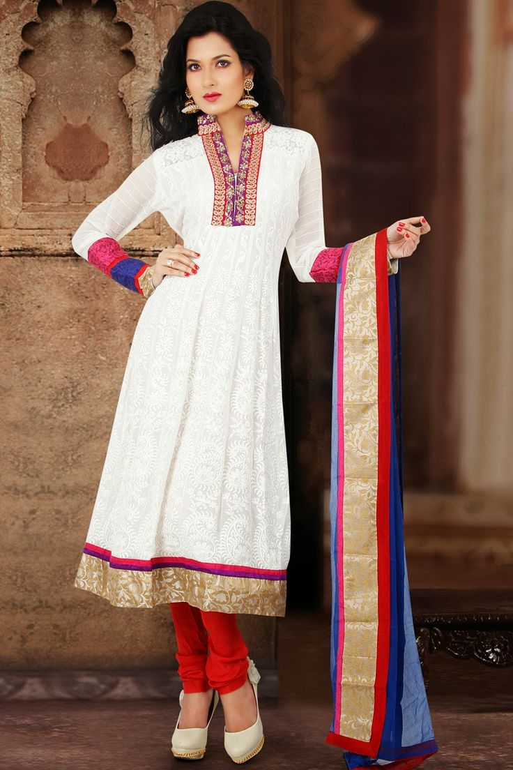 Plain White Anarkali Suit Check out this page now :-http://www.ethnicwholesaler.com/salwar-kameez/anarkali-salwar-kameez