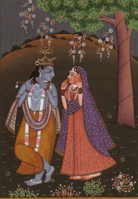 Krishna-Radha-Miniature-Painting-Hand-Painted-Hindu-God-Image-Watercolor-Artwork-190775010604