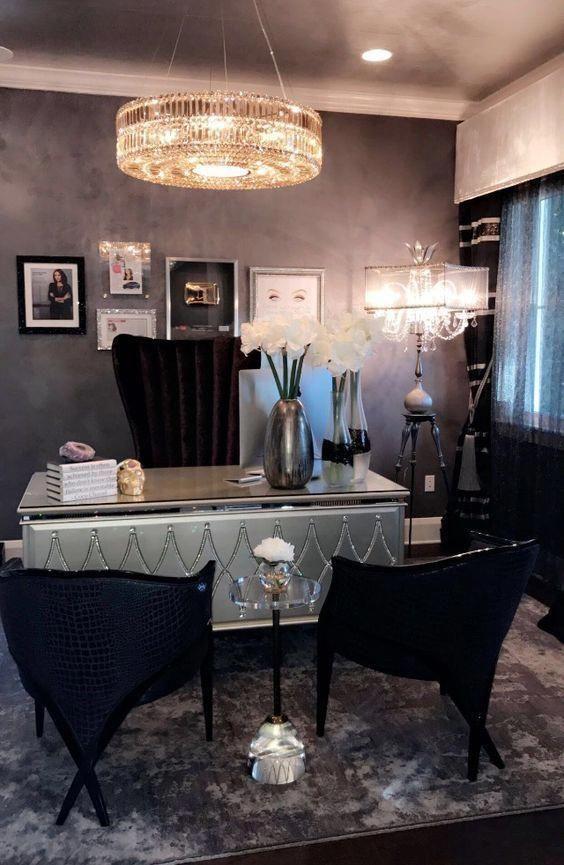 50 Luxury Home Decor To Copy Today Decor Interiordesign Livingroom Design Luxuryhomedecor Luxury Home Decor Home Office Design Chic Office Desks