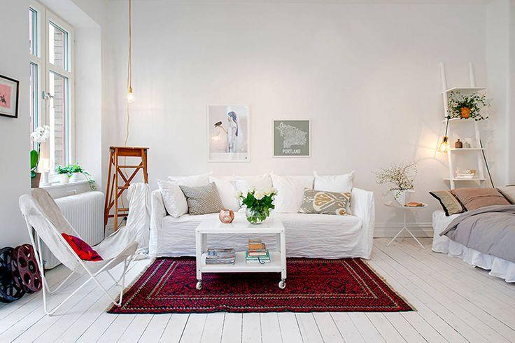 Kawalerka w bloku w stylu skandynawskim - salon