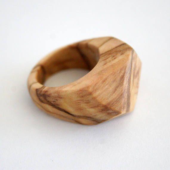 Boho Bohemian Style Geometric Handmade Natural Olive Wood