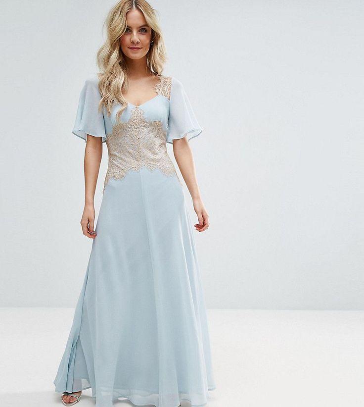 ASOS PETITE WEDDING Contrast Lace Panel Maxi Dress - Blue