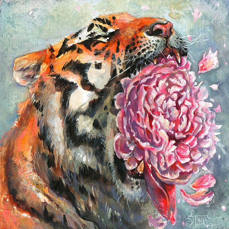 Картинка тигр с цветами