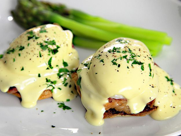 Foolproof real hollandaise in about 2 minutes.  3 egg yolks  1 tablespoon lemon juice 1/2 teaspoon salt 1/8 teaspoon cayenne (optional) 10 tablespoons unsalted butter (if using salted butter, skip the added salt)