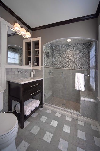 """Like this subway tile for the master bathroom shower (Pratt & Larson R145); also like the floor which is """"Seneca Gregoriana 6x18 porcelain tile in """"Cloud"""" honed finish, and Anatolia 6x6"""""""