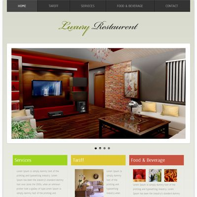 Luxury Restaurant Free Responsive HTML5 CSS3 Mobileweb Template Colorful Interior DesignInterior
