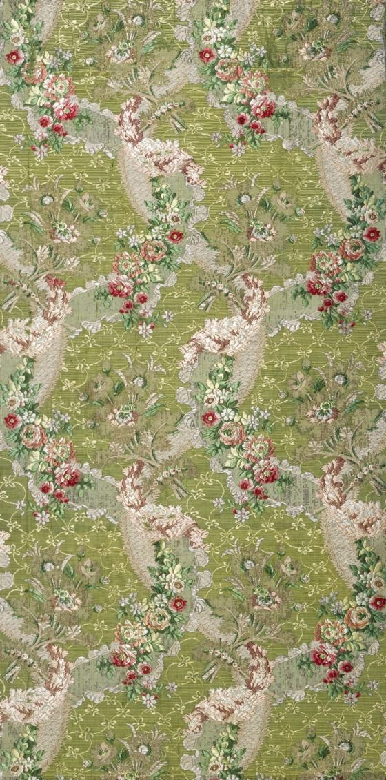Fabric panel, ribbed silk ground brocaded with silk and metallic thread, c. 1762-66, French.