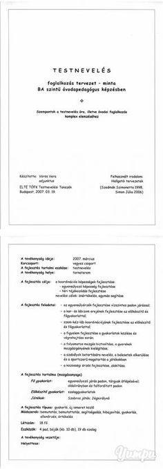 Óvodai minta foglalkozás terv. - ELTE Tanító - Magazine with 22 pages: Óvodai minta foglalkozás terv. - ELTE Tanító