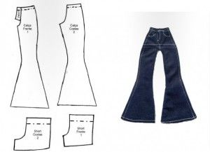 Barbie bell bottomed jeans and shorts MOLDES DE ROUPAS DE BONECA