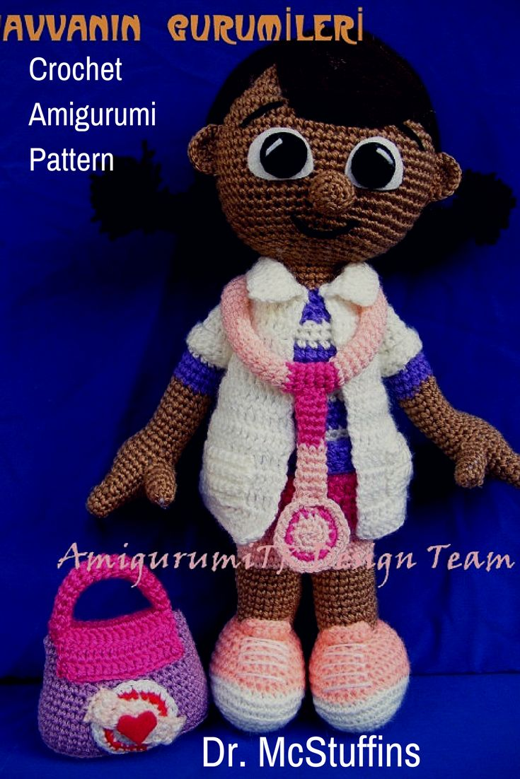 Dr. McStuffins is a crocheted amigurumi toy that would love to help your pets stay in tip top condition. This toy was inspired by the character in Disney's Dr. McStuffins show. You can create your own Dr. McStuffins with this downloadable pattern. #crochet #amigurumi #crochettoy #ad #amigurumitoy  #drmcstuffins #disney  #amigurumipattern #instantdownload
