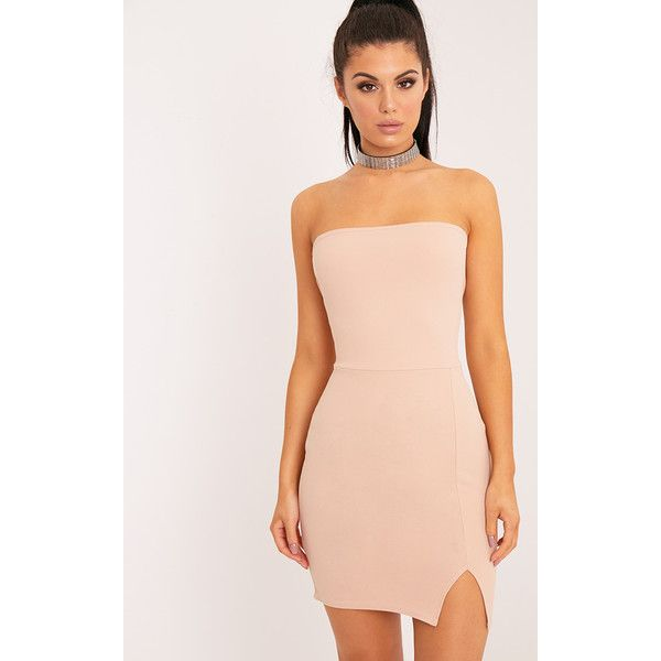 Layala Nude Split Detail Bandeau Bodycon Dress (855 INR) ❤ liked on Polyvore featuring dresses, pink, night out dresses, nude dress, form fitted dresses, pink bodycon dress and form fitting dresses