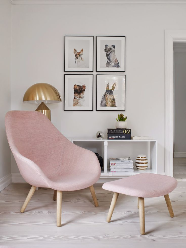 Harmonize your living area with an armchair and footrest set. Combine gold and pink to create perfect touch of regal femininity.