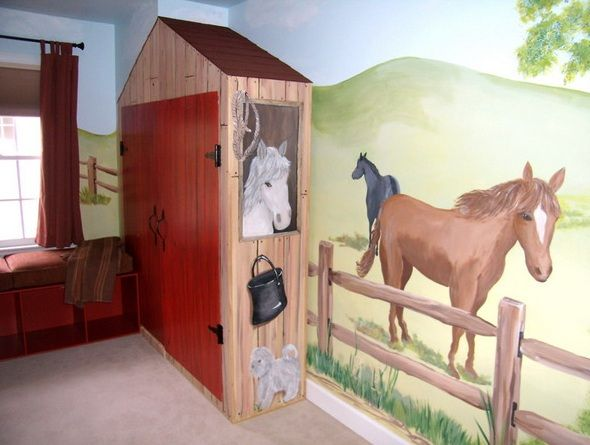 horse ranch country decor wall murals decorating ideas adorable for kids room - Horse Bedroom Ideas