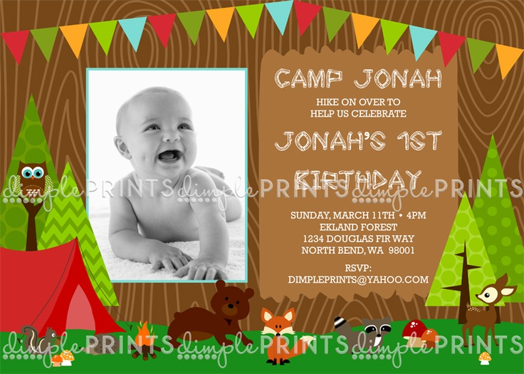 Camping Woodland Critters Printable Invite $13