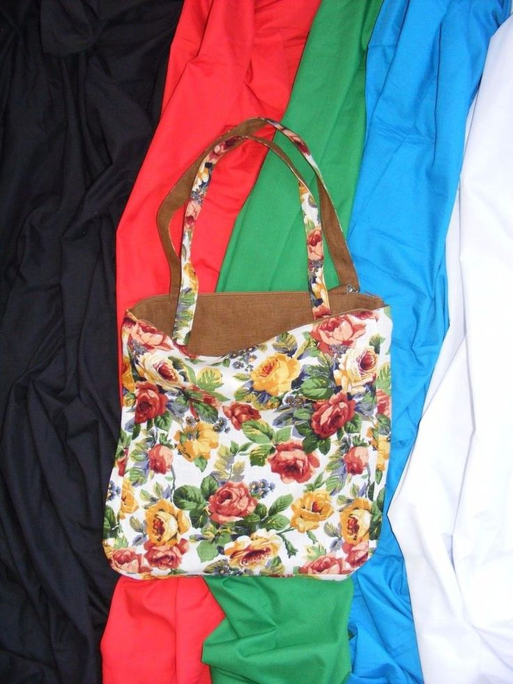 "Pure Linen Shoulder Tote Bag with zipper pockets ""Brown and Flowers"""