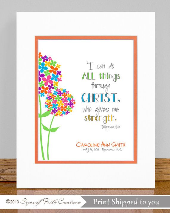 Catholic Confirmation Quotes From The Bible: Girls Flower PRINT Scripture Wall Art With Philippians 4
