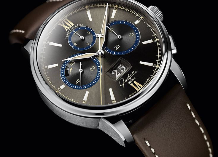 The stainless steel Glashütte Original Senator Chronograph Capital Edition watch with Bourbon Grey dial and blue and white accents is being made in a limited edition of just 100 pieces.