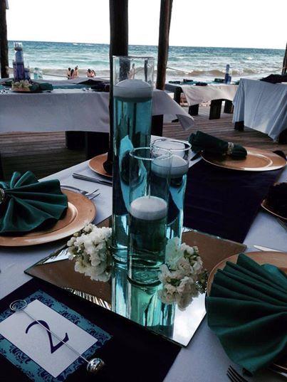 CBC128 Riviera Maya weddings / Bodas centerpices blue /centro de mesa azul