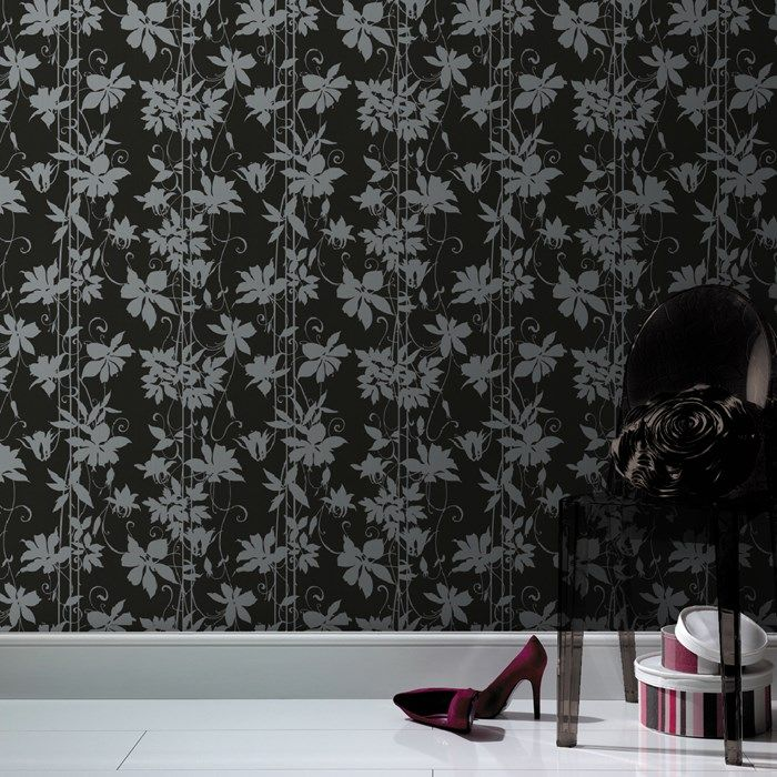 Paradise Garden Black Wallpaper by Laurence Llewelyn-Bowen - Designer Floral Wall Coverings by Graham  Brown