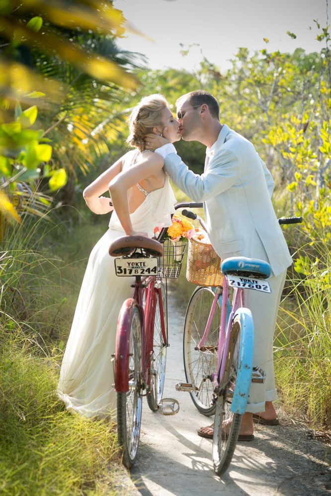 #bride #groom #bicycles #destination #wedding at #tulum #mexico wedding #dress by Jenny Packham #jennypackham photo by Michael Segal Photography #michaelsegal #michaelsegalphoto #michaelsegalweddings