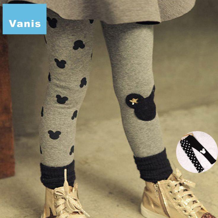 2 pcs New Arrival 2015 Winter Autumn Girls Velvet Leggings Children Pencil Pants Kids Warm Leggins Girl Legging Micky Trousers
