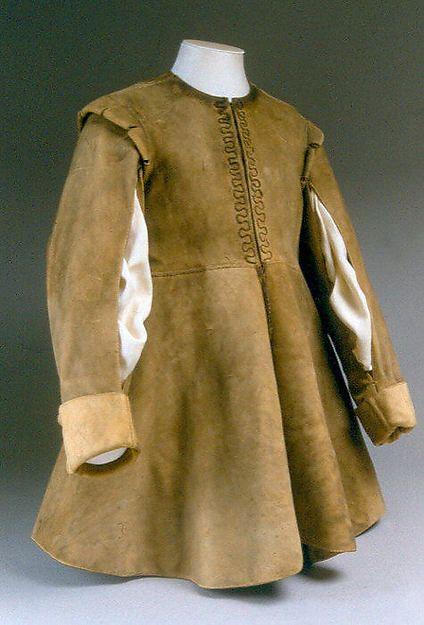 Coat Date: 1630–40 Culture: British Medium: leather Dimensions: Length at CB: 28 1/2 in. (72.4 cm)