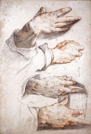 Hendrick Goltzius: Four Studies of Hands  (Städelsches Kunstinstitut, Frankfurt,  c. 1588–1589)